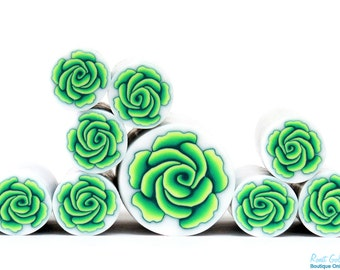 Green and Yellow Polymer clay Rose Flower cane , raw and unbaked polymer clay millefiori Fimo cane by Ronit Golan - FRESH