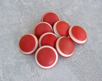 Retro Red Shank Buttons 18mm - 5/8 inch Moody Matte Red Plastic Buttons with White Ring-Around Rims - 8 VTG NOS Red Vintage Buttons PL547 bb