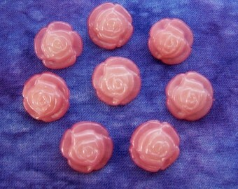Satin Pink Rose Buttons 16mm - 5/8 inch Princess Pink Roses Plastic Buttons - 8 Carved Two Tone Pink Flower Shank Buttons PL407