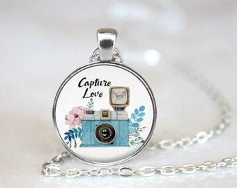 "Capture Love Photographer Camera Changeable Magnetic Pendant Necklace with 1"" Button Magnet"