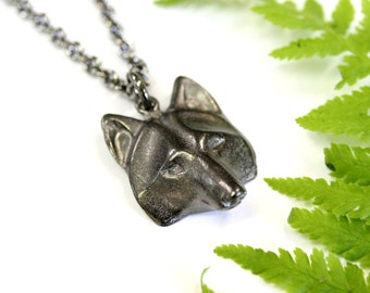 Wolf Head Necklace - Black Gunmetal Wolf Face Pendant  2009