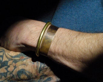 Rustic Textured Brass Cuff for Men and Women - Boho Chic - Tarnished Brass - Bohemian - Rugged - Patina - Metal Jewelry