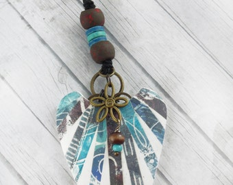 Polymer Clay Large Pendant Beach Jewelry featuring Striped Design in Blue, Brown and White
