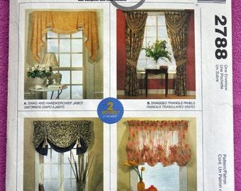 McCall's 2788 - Easy Home Decor Ideas (Home Dec In A Sec) - Curtains, Valences, Swags, Jabots, Etc. - Window Treatments - UNCUT