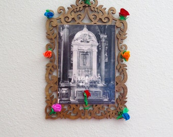 Vintage Reproduced Photograph at the Basilica de GUADALUPE in Mexico Antiqued  Wood Shrine- A peek into history