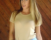 Perfect Vintage SS Ringer Tee in Beige - Vintage 70s - XS S