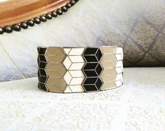 Geometric Enamel Mod Elastic Cuff Bracelet Vintage 80s