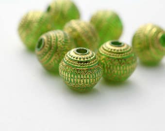 Etched Carved Round Green Gold Acrylic Beads 19mm (10)