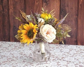 15% OFF, FALL SALE ..... Yellow Sunflower & Cream Rose Bridal Bouquet for your Wedding, Ready To Ship!