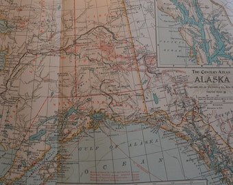 1899 State Map Alaska - Vintage Antique Map Great for Framing 100 Years Old