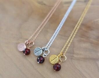 Garnet Necklace, Red Berry Necklace, Garnet Berry Necklace, Leaf Necklace, Gold Berry Necklace, Silver Berry Necklace, Gold Vermeil Charm