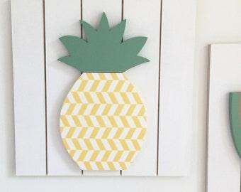 Pineapple Wall Art, Kids Wall Art, Wood Wall Art, Fruit Wall Art, Wooden Pineapple, Fruit Nursery Decor, Teen Wall Decor, Kitchen Wall Art