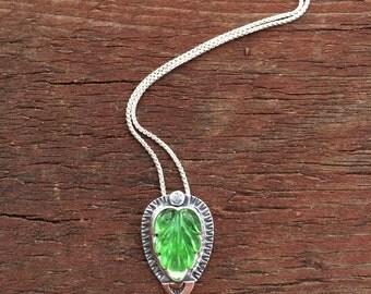 Lime Green Leaf Pendant, Carved Glass Leaf  Pendant, Vintage Artisan Glass Pendant