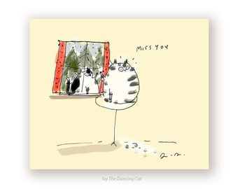Miss You Cat Card - Cat in Window - Thinking of You Card