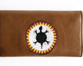 Handmade Vintage Leather and Native American Beaded Turtle Billfold Wallet Change Purse