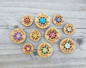 """Custom Stitchable Buttons Bamboo (3/4"""" or 1"""") Card of 10 x 8 Hole Buttons"""