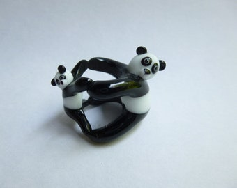 Panda bear, handmade glass panda, mother and baby panda, lampwork panda, figurine or 12mm hole bead