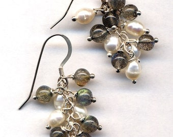Sterling Silver Labradorate and Pearls Earrings, Sterling Silver Earrings , Natural White Pearls Earrings  by AnnaArt72