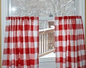 "Cafe Curtains - Red Buffalo Check - Anderson Lipstick Red / White - Large Gingham  25"" or 50""  wide - You choose length"