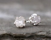 Raw Diamond Earrings - Sterling Silver Vintage Inspired - 2 Carat Stud Earring - April Birthstone - Uncut Gemstone - Conflict Free Diamonds