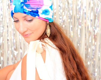 Hair Turban in Pink and Blue Floral Print - Tropical Fashion - Jersey Knit Head Wrap