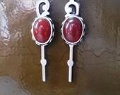 Steampunk Style Carnelian Semi Precious Gemstone and Silver Watch Hand Dangle Earrings OOAK