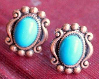 Vintage Earrings Copper Turquoise Post Stud Pierced