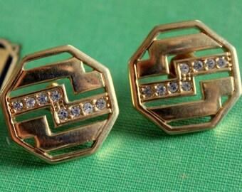 AVON Earrings Signed Gold Tone Rhinestone Vintage Pierced