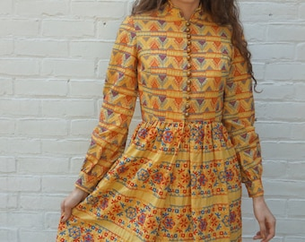 Vintage Dress 1960s Amazing Embroidered Boho Golden Yellow