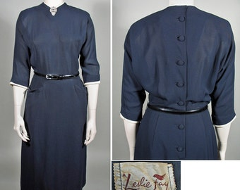 1950s Navy Crepe Vintage Day Sheath Dress by Leslie Fay SZ S/M