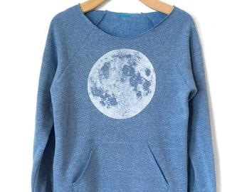 Moon sweatshirt,  Women's Moon Raglan, off the shoulder Blue Moon Sweatshirt with Kangaroo pocket, Full Moon shirt, Moon Print, Yoga Clothes