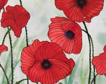 Poppies I - Original Watercolor