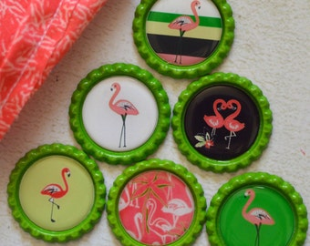 Flamingo Bottlecap Magnet Set- Powerful Magnets- Tropical Flamingo Bottlecap Magnets- Flamingo Bird Bottlecap Magnets