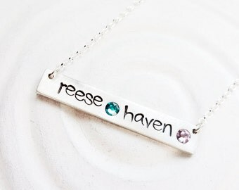 Birthstone Bar Necklace - Multiple Name and Birthstone Necklace - Mother's Necklace - ID Bar Necklace - Personalized Jewelry - Hand Stamped