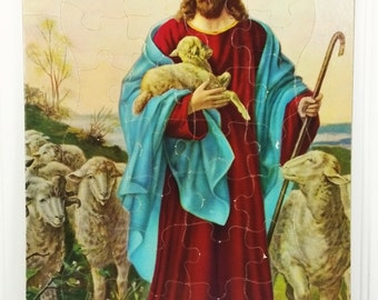 The Good Shepherd Chipboard Tray Puzzle, Jesus Tending Sheep Mid Century Religious Puzzle