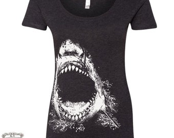 Womens SHARK TriBlend Scoop Neck Tee - T Shirt S M L XL XXL (+ Color Options)