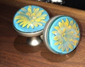 24kt Gold Fumed Glass Flower Drawer Knobs Set of TWO- Blown Glass Art
