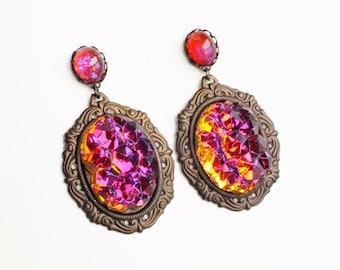 Glamorous Statement Earrings Large Vintage Glass Druzy Dangle Earrings Colorful Volcano Rhinestone Earrings Orange Purple Statement Jewelry