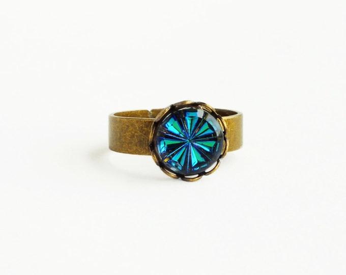 Blue Crystal Ring Small Vintage Iridescent Glass Blue Green Vitrail Crystal Ring Bermuda Blue Adjustable Brass Ring