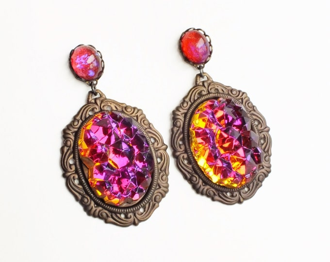 Glamorous Statement Earrings Large Vintage Glass Druzy Dangle Earrings Colorful Volcano Rhinestone Earrings Orange Purple Statement Jewelry