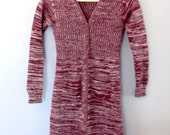 Burgundy and White Knit 70's Sweater Dress