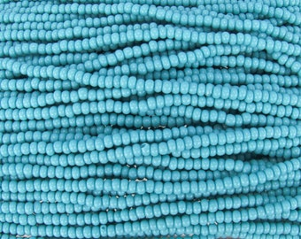 6/0 Opaque Blue Turquoise Czech Glass Seed Bead Strand (CW173) SE