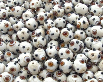 14x12mm Opaque Off White with Opaque Black and Transparent Topaz Dots Handmade Lampwork Glass Beads - Qty 10 (AS46)