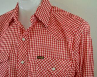 Vintage WRANGLER gingham check western shirt long sleeve USA made size Medium
