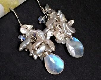 Keishi Pearl Cluster Earrings Rainbow Moonstone Gemstone Wire Wrap Sliver Keishi Pearl Cluster Sterling Silver Wedding Earrings