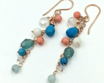 Turquoise Dangle Earring Wire Wrap Gold Fill Rose Gold Oxidzed Silver Sterling Silver Colorful Gem Coral Moonstone Apatite Turquoise Earring