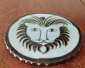 Vintage Ceramic Ken Edwards El Palomar Lion Trivet, Hot Plate, Mexican Pottery