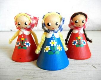 3 Nina Norway Figurines | Ninaorway | Blond Braids | Norwegian Figures | Hand-Painted | Gingham Scarf