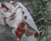 Eco printed silk scarf hand dyed