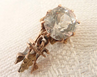 Antique Victorian 14K Gold Paste Stone Single Earring Piece for Crafting